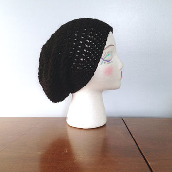 Black Women's Slouchy Beanie - Crochet Beanie - Hipster Beanie - Summer Beanie - Small Dread Tam - Teen Girls Slouch Hat - Knit Black Beanie