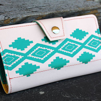 Southwestern Native American Print Womens Wallet Clutch Salmon and Turquoise Print