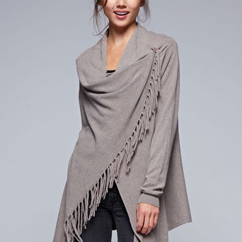 Love Stitch Carys Fringed Shawl Sweater with Button in Brown Heather IMP5797-BRNHTR