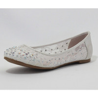 White Lace Rhinestone Evelyn Flats