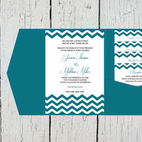 Chevron Pocket Wedding Invitation Template Set - Peacock Chevron DIY Printable Editable PDF Template Set - Instant Download - DIY You Print