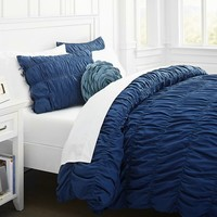 Ruched Duvet Cover + Sham, Royal Navy