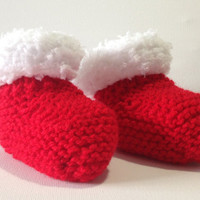 Christmas Baby Booties / Bootees, Red with White trim, Hand Knitted, 0-6 Months