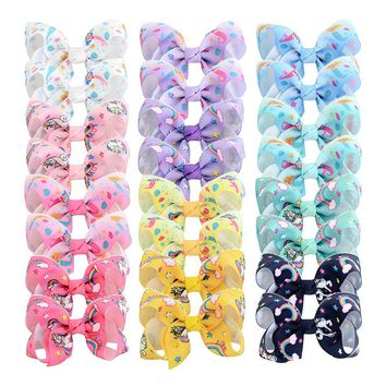 Unicorn Mermaid Print Little Girl Hair bows Colorful 12 Pairs 3 inch Small Hair Clips for Toddlers Childrens Hair Accessories