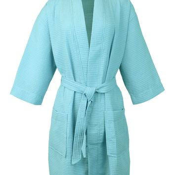 Bare Cotton Thigh Length Waffle Kimono Robe, One Size, Light Turquoise