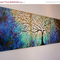 Sale 50% off free shipping Made to order Commision set- Large original painting Abstract 72 x 24 x 3/4in - Cherry Blossom Tree by Vadal