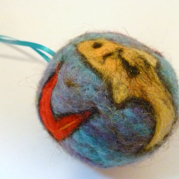 Christmas tree ornament with tropical freshwater Blue and purple tetra fish. Homemade Fiber Arts Holiday Decor. Chrismtas Balls. Felt Craft