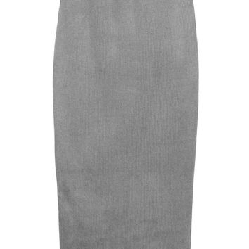 Grey Knit Midi Skirt