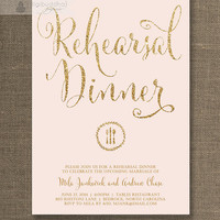 Blush Pink & Gold Rehearsal Dinner Invitation Gold Glitter Pastel Pink Wedding Rehearsal Script Modern Printable Digital or Printed - Mila