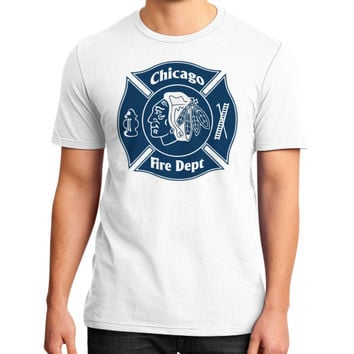 Chicago fire depart District T-Shirt (on man)