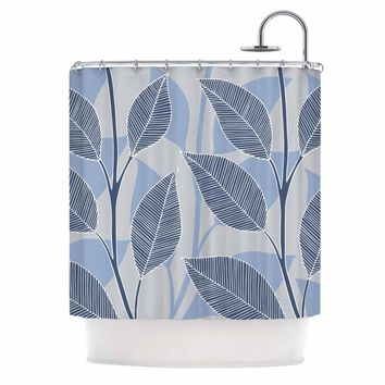 "julia grifol ""Leaves In Blue"" Blue Gray Floral Pattern Vector Shower Curtain"