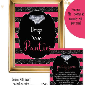Panty game sign and insert printable / the panty game instant download / lingerie game / bachelorette game / bridal panty game / drop pantie
