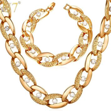 U7 Hot Chunky Choker Necklace & Bracelet HipHop Big Chain For Men/Women Gold Color Rhinestone 2017 New Kpop Jewelry Sets S1004