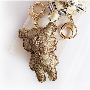 "Hot Sale ""GUCCI"" Fashionable Women Men Cute Diamond Bear Bag Hanging Drop Car Key Chain Bag Accessories Lovers Gift Khaki"