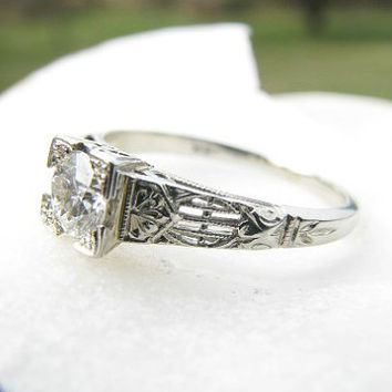 Art Deco Diamond Engagement Ring, Fiery Old European Cut Diamond, Beautifully Intricate Setting, 18K White Gold, Circa 1920s to 1930s