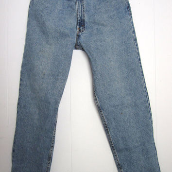 "Vintage 550 Levi's Blue Jeans Relaxed Fit 36x32 Denim Cotton USA Made 33"" x 31"""