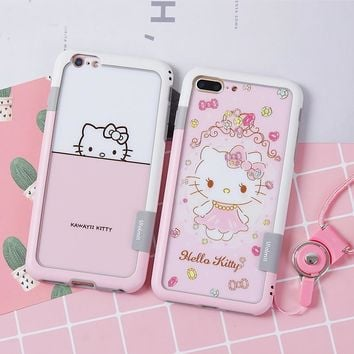 For iPhone 7 Plus Walnutt Bumper + Front &back Glass screen protector Hello Kitty cartoon For iPhone 6 6S Plus 8 8Plus + strap