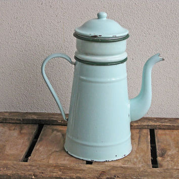 mint green French enamel coffee pot biggin by Histoires on Etsy