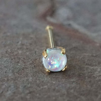 White Opal Gold Nose Bone Gold Nose Stud Nose Ring Prong Set