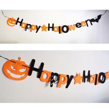Happy Halloween Flags Non-woven Pumpkin Letter Party Banner Orange Black Hanging Garland Pennant Flag Home Party Decoration