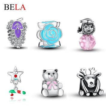 5PCS Top Quality Silver Plated 925 DIY Jewelry Making Elk,Teddy Bear,Snowman Charms Be