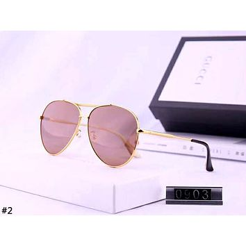 GUCCI 2019 new women's retro metal large frame color film polarized sunglasses #2