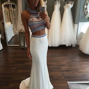 Sexy 2 Piece Crop Top Prom Dresses 2016 Fashion Halter Nice Beaded Diamond Rhinestones Mermaid Prom Gown Formal party Dress