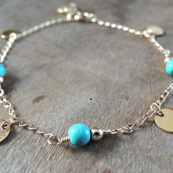 Turquoise And Gold Bracelet, Delicate Gold Disc and Turquoise Beads Bracelet, Gold Layring Bracelet, Everyday Bracelet