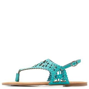 Turquoise Laser Cut-Out Flat Thong Sandals by Charlotte Russe