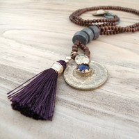 Long Mala Tassel Necklace, Dark Brown Wood Beads, Purple and Blue, Gypsy Coin Charm