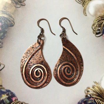 Handcrafted Copper Earrings, Copper Jewelry, Metal Earrings, Textured Earrings, Gift for her, Unique Jewelry, Women's Jewelry
