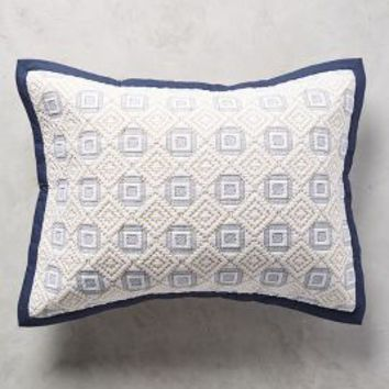 Diamond-Stitched Shams in Navy Blue Standard Shams Size Bedding by Anthropologie