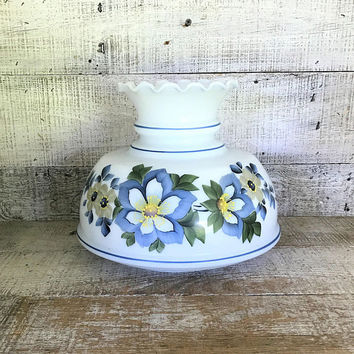 Milk Glass Lampshade with Blue Floral Design Glass Lampshade Blue and White Hurricane Shade Glass Light Globe Antique Light Fixture Shade