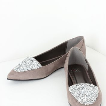 Crystal Pointed Flats Grey