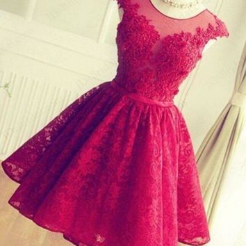 CREYIH3 FASHION RED HANDMADE LACE SHINING RHINESTONE PROM PARTY DRESS