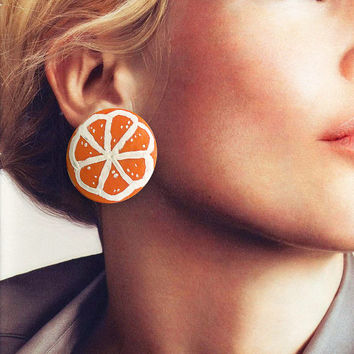 Orange earrings fruit stud made entirely by hand in cold porcelain