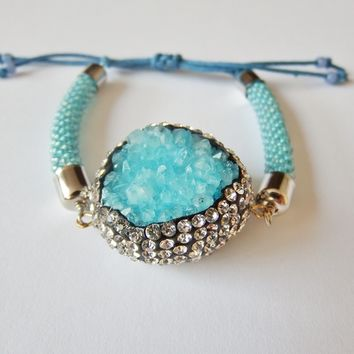 Blue Druzy Agate Bead Crochet Bracelet with Adjastable Cord