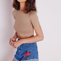 Missguided - Capped Sleeve Jersey Crop Top Taupe