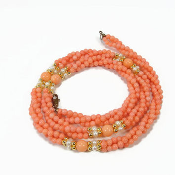 Faux Coral and Pearl Twist Necklace, 3 Strands, 24 Inch, Vintage Necklace, Gold Tone Beads, Fake Coral