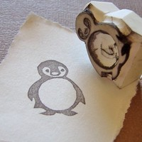 baby penguin hand carved stamp by paperfruithair on Etsy