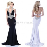 Custom Made Shinning Crystal Party Dresses Women Sexy Halter Backless Evening Prom Dresses Floor Length Mermaid Prom Dresses