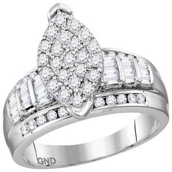 Sterling Silver Women's Round Diamond Oval Cluster Bridal Wedding Engagement Ring 1.00 Cttw - FREE Shipping (US/CAN)