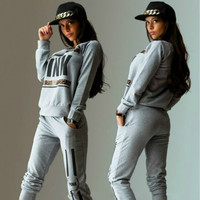 Pullover Tracksuit Women Letter PINK Print  Suit Hoodies Sweatshirt +Pant (GRAY,S)