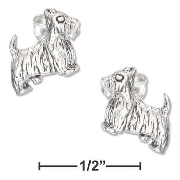 Sterling Silver Earrings:  Mini Scottie Dog Earrings On Stainless Steel Posts And Nuts
