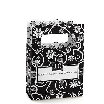 Modern Floral Black & White - Any Year - Personalized Wedding Anniversary Mini Favor Boxes
