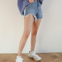 Frayed High-Rise Denim Shorts