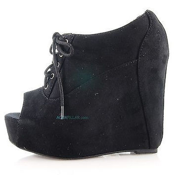 Fia Black Laced up Ankle Bootie open toe platform wedge Women Soda Shoes