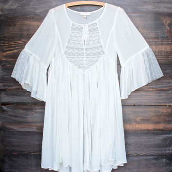 dreamy lace up peasant dress - white