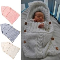 Newborn Handmade Baby Knit Sleeping Bag with Button