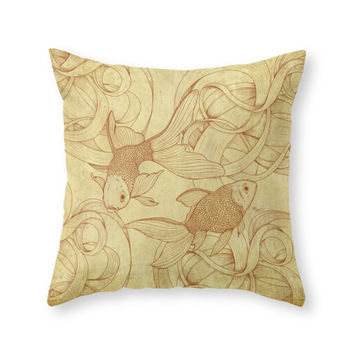 Society6 Vintage Goldfish Throw Pillow